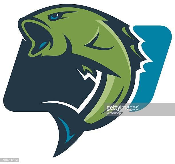 bass fishing logo - bass fishing stock illustrations