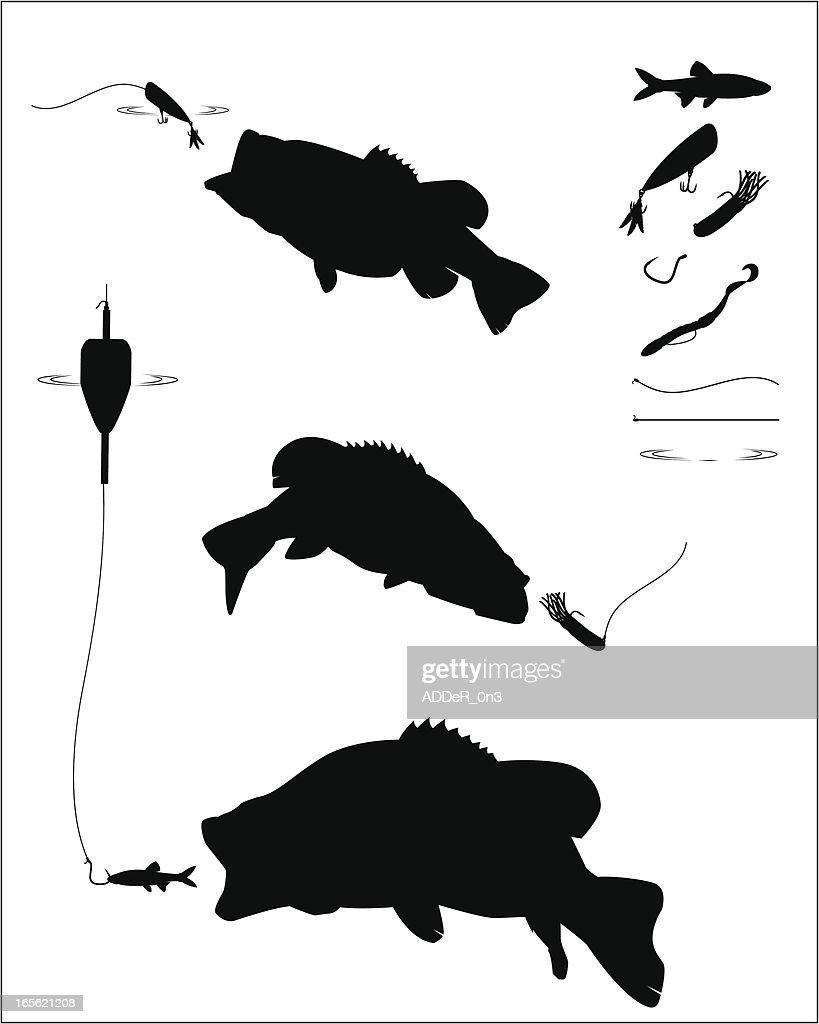 Bass Fishing Silhouette Set Vector Art