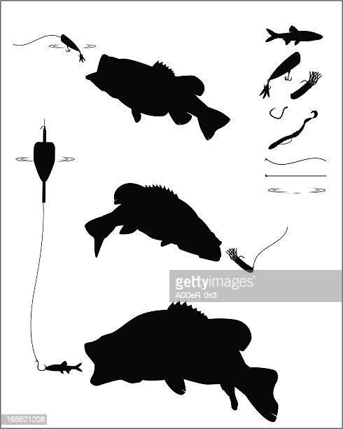 bass fishing silhouette set - bass fishing stock illustrations