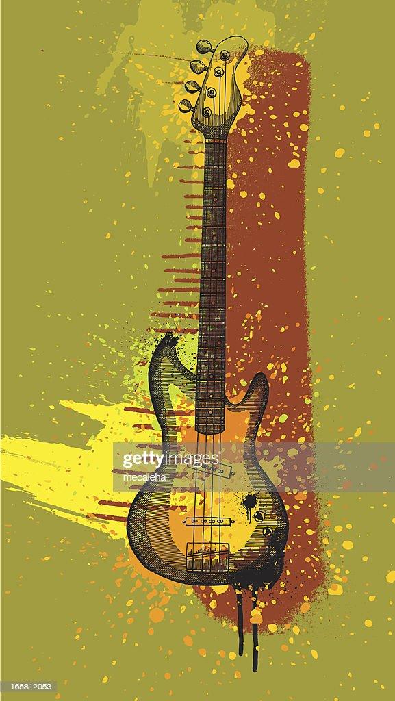 Bass Guitar Grunge Design