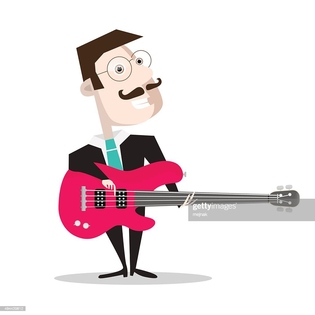 Bass Guitar Player Isolated on White Background