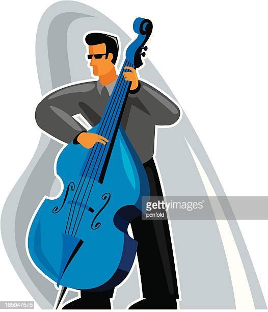 bass player - bass instrument stock illustrations, clip art, cartoons, & icons