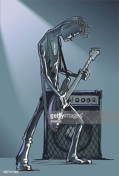 bass player - punk person stock illustrations, clip art, cartoons, & icons