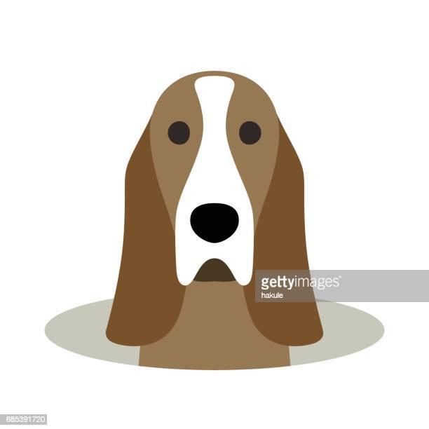 Basset Hound dog på hålet, watching, vektorillustration