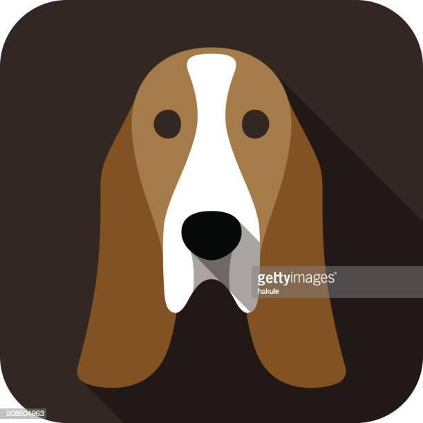 basset hound face flat icon, dog series - hound stock illustrations