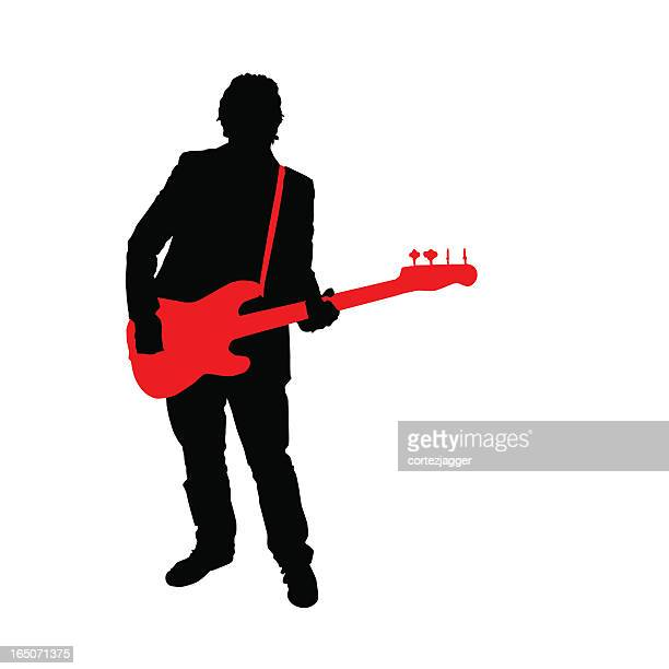 bassist silhouette white background (vector illustration) - bass instrument stock illustrations, clip art, cartoons, & icons