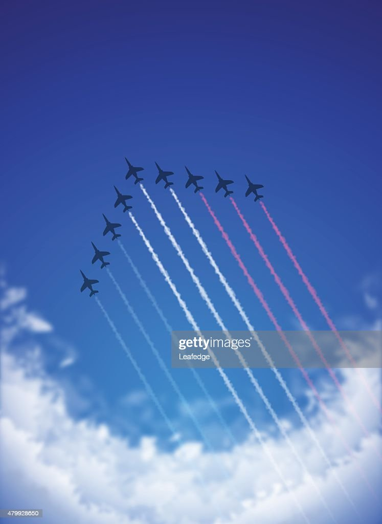 Bastille Day background[Air Show and Tricolor contrails] : stock illustration