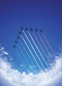 Bastille Day background[Air Show and Tricolor contrails]