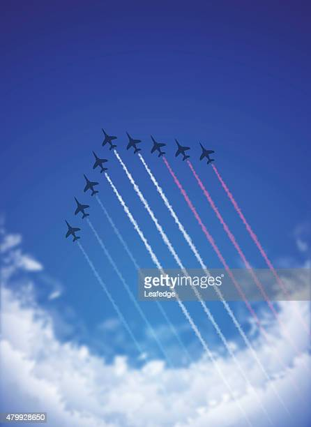bastille day background[air show and tricolor contrails] - national holiday stock illustrations