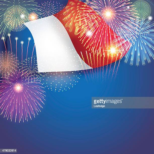 bastille day background[flag and fireworks] - national holiday stock illustrations, clip art, cartoons, & icons