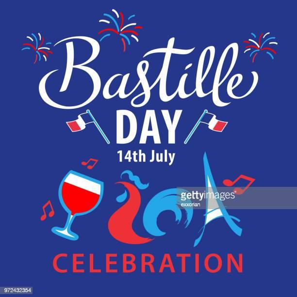 bastille day celebration - french culture stock illustrations