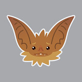 Bat emotional head. Vector illustration of bat-eared brown creature shows emotion.