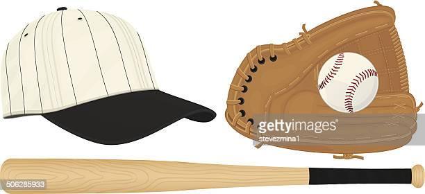 bat, glove, baseball and hat - baseball bat stock illustrations, clip art, cartoons, & icons