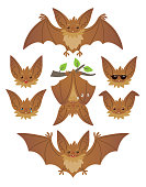 Bat in various poses. Flying, hanging. Brown bat-eared snouts with different emotions. Illustration of flat animal emoticons on white background. Cute mascot emoji set. Halloween smiley. Vector.