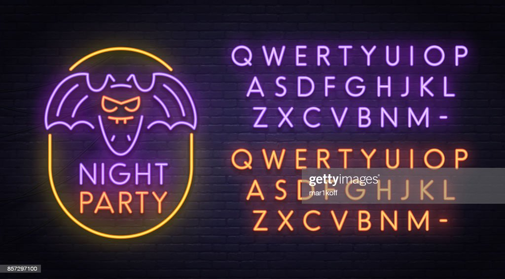 Bat neon sign, bright signboard, light banner. Halloween party logo, emblem. Neon sign creator. Neon text edit