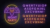 Bat neon sign, bright signboard, light banner. Halloween party logo, emblem. Neon sign creator. Neon text edit