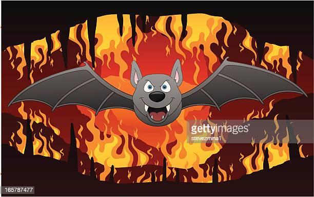 ilustraciones, imágenes clip art, dibujos animados e iconos de stock de bat de infierno - infierno fuego