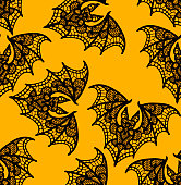 Bat. Seamless pattern. Black Lace  pattern. Yellow background.