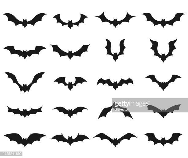 bat vector icon set - mammal stock illustrations