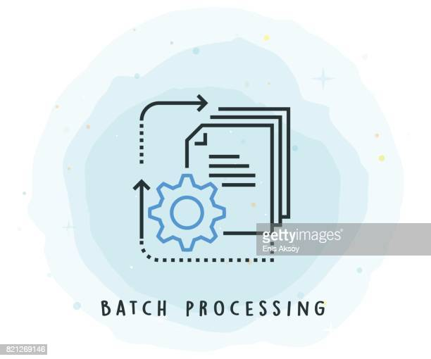 Batch Processing Icon with Watercolor Patch