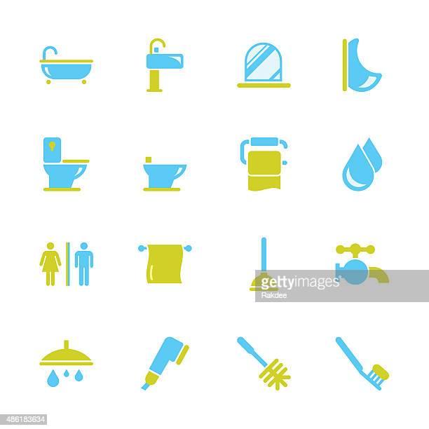 illustrations, cliparts, dessins animés et icônes de la salle de bains et une salle de bains-série couleur - cuvette des toilettes