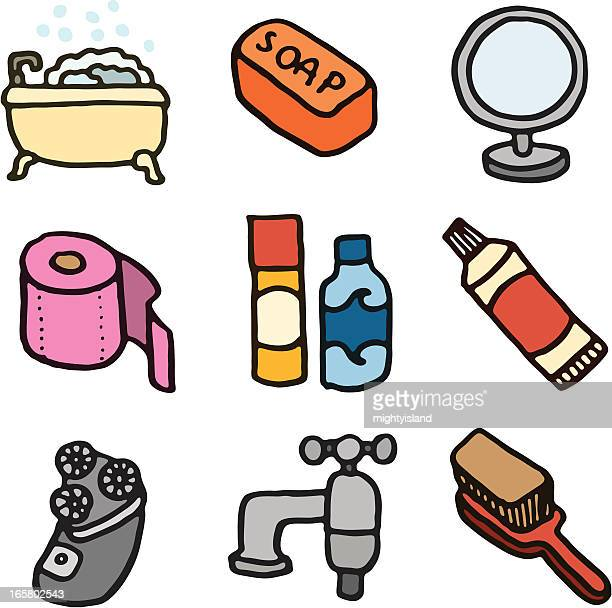 bath and bathroom doodle icon set - toothpaste stock illustrations