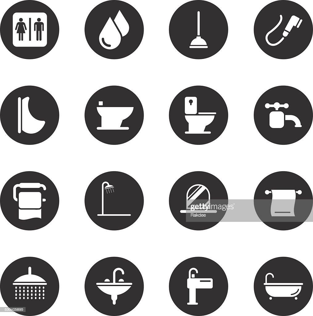 Bath and Bathroom Icons - Black Circle Series