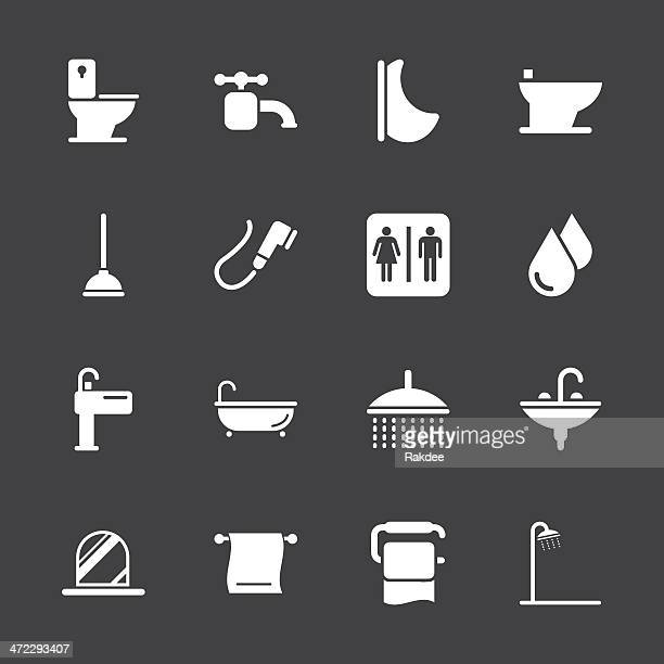 illustrations, cliparts, dessins animés et icônes de la salle de bains et une salle de bains/série d'icônes-blanc eps10 - cuvette des toilettes