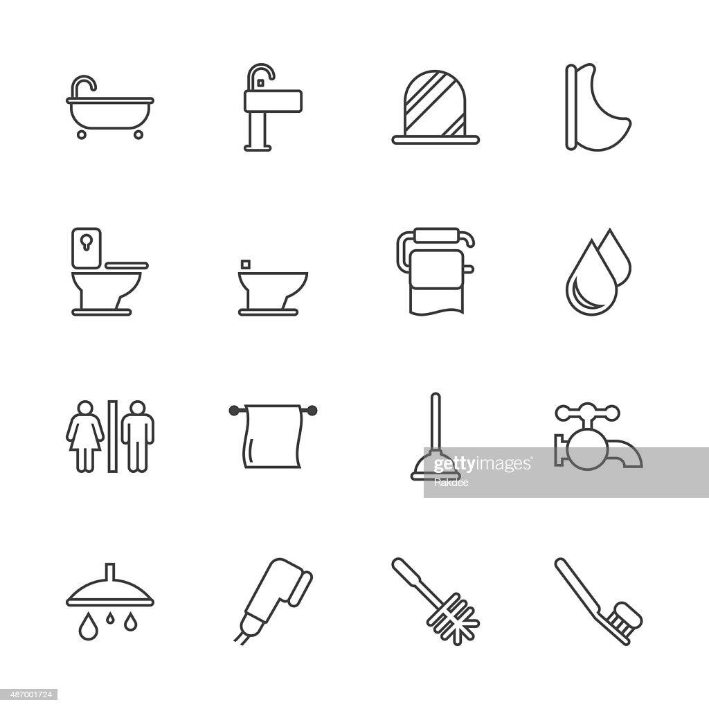 Bath and Bathroom - Line Series : stock illustration