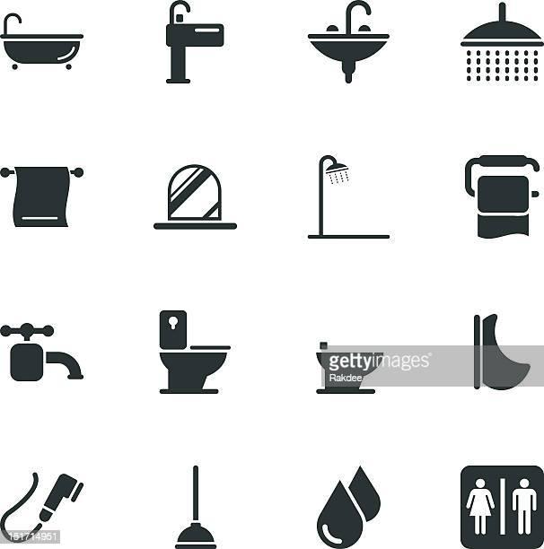 ilustraciones, imágenes clip art, dibujos animados e iconos de stock de silueta de iconos baño y baño - ducha