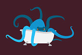 bath and Octopus. bathtub and monster. Vector illustration