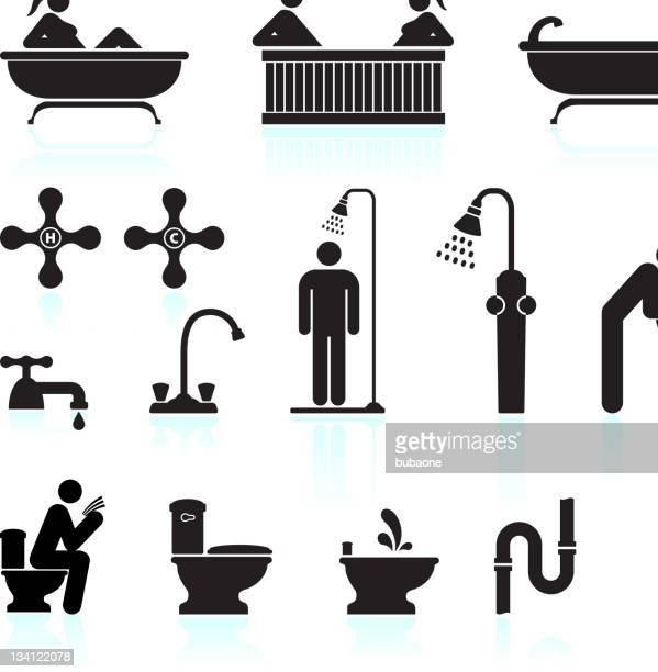 ilustraciones, imágenes clip art, dibujos animados e iconos de stock de baño & baño blanco y negro vector icono conjunto - ducha