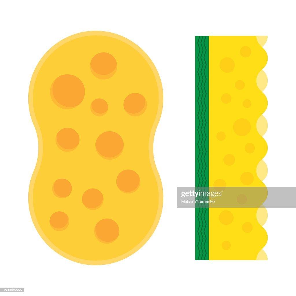 Bath sponge, kitchen sponges flat icon