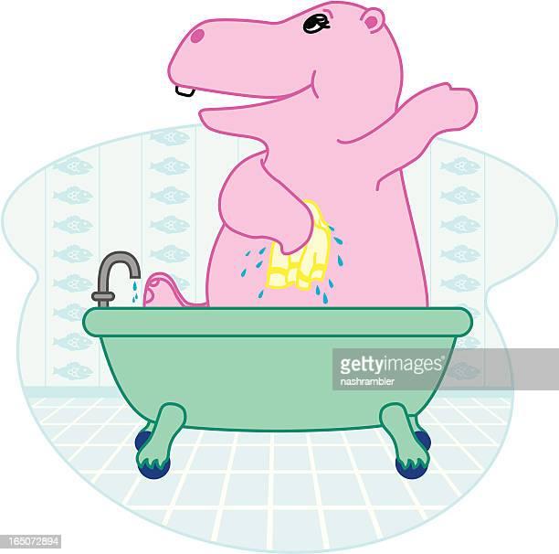 ilustraciones, imágenes clip art, dibujos animados e iconos de stock de bañarse hipona - bañera con patas