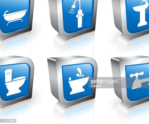ilustraciones, imágenes clip art, dibujos animados e iconos de stock de baño 3d vector conjunto de iconos libres de derechos - bañera con patas