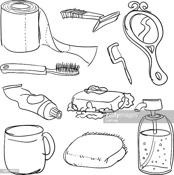 bathroom accessories in black and white - toothpaste stock illustrations