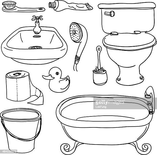 bathroom accessories in sketch style - toilet brush stock illustrations, clip art, cartoons, & icons
