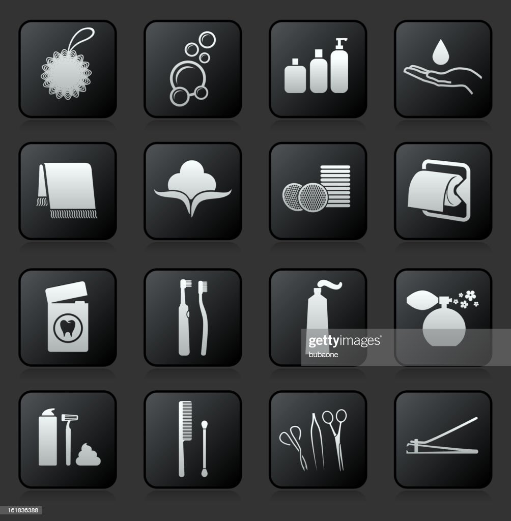 Bathroom accessories royalty free vector icon set : stock illustration