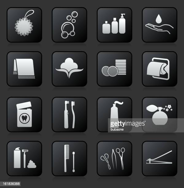 bathroom accessories royalty free vector icon set - mouthwash stock illustrations, clip art, cartoons, & icons