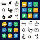 Bathroom All in One Icons Black & White Color Flat Design Freehand Set