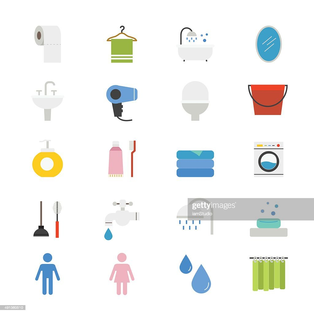 Bathroom and Toilet Flat Icons color