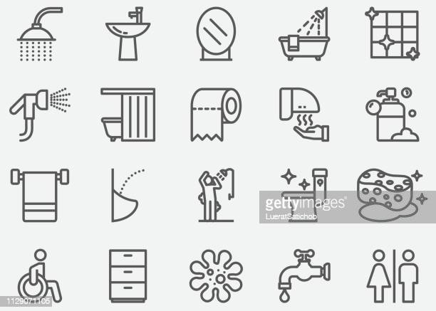 bathroom and toilet line icons - bathroom stock illustrations, clip art, cartoons, & icons