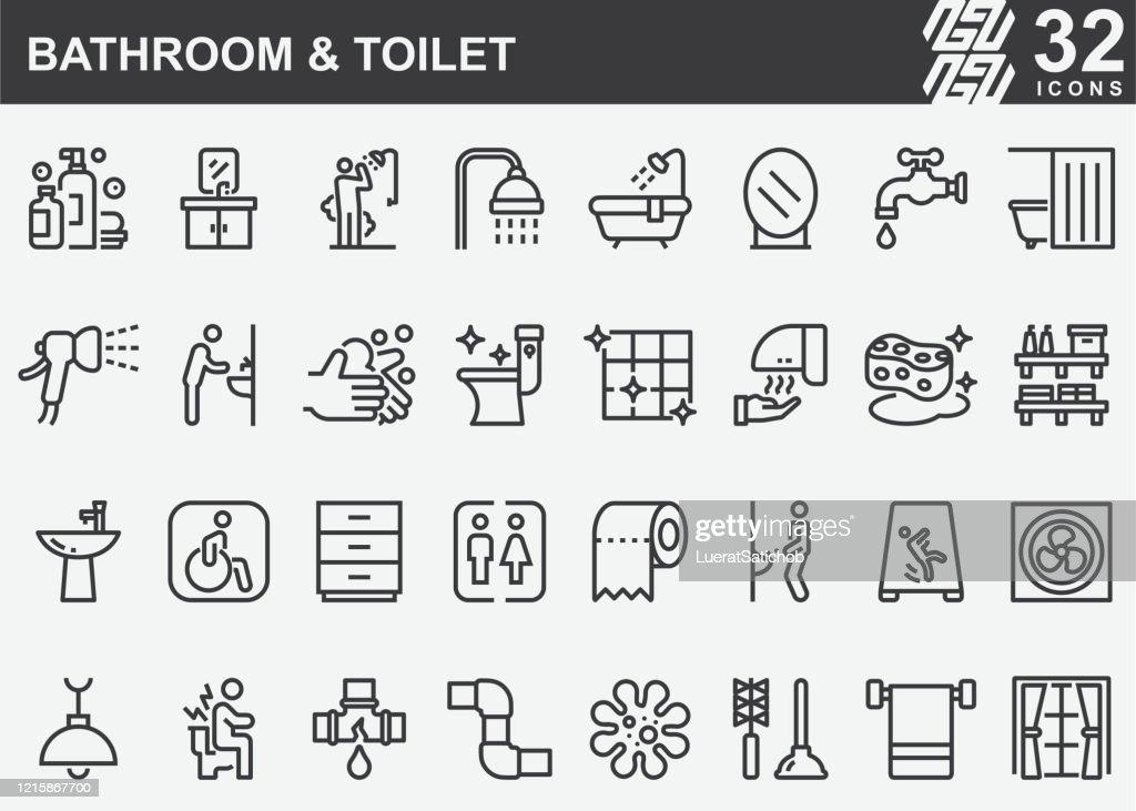 バスルームとトイレラインアイコン : ストックイラストレーション