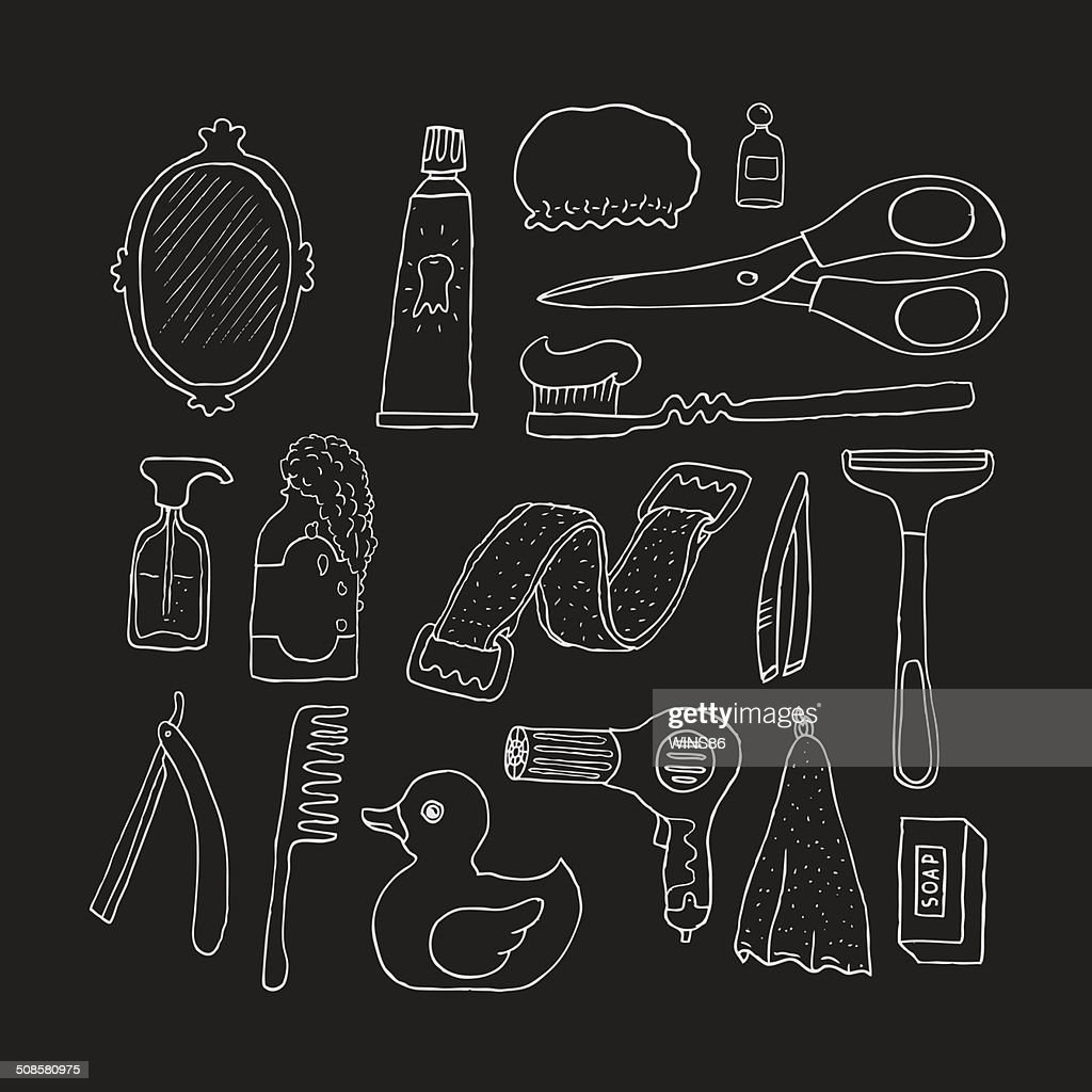 Bathroom. Cosmetics objects. : Vector Art