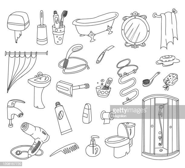 浴室塗鴉套裝 - 鏡 物品 幅插畫檔、美工圖案、卡通及圖標