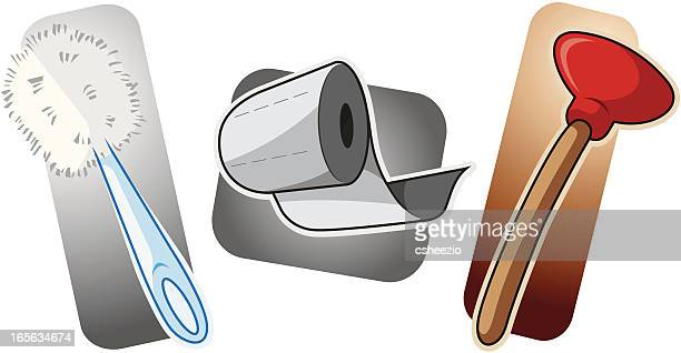 bathroom equipment - toilet brush stock illustrations, clip art, cartoons, & icons