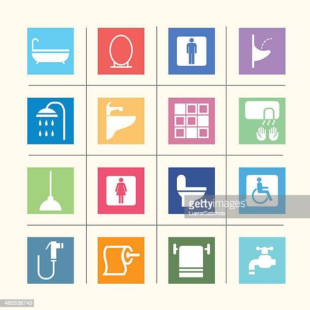 bathroom icons color harmony  eps10 - disability stock illustrations, clip art, cartoons, & icons