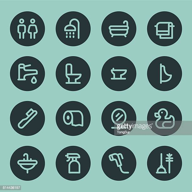 Bathroom icons - Line - Circle