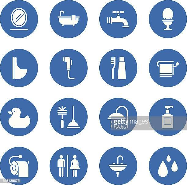 illustrations, cliparts, dessins animés et icônes de icônes de salle de bains-standard-cercle - cuvette des toilettes