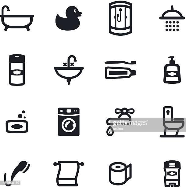 illustrations, cliparts, dessins animés et icônes de icônes de la salle de bains - cuvette des toilettes